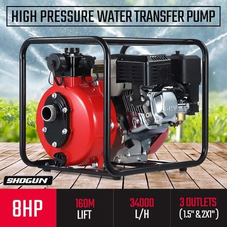 New 8HP OHV High Pressure Water Transfer Pump Fire Fighting Irrigation 34000L/H