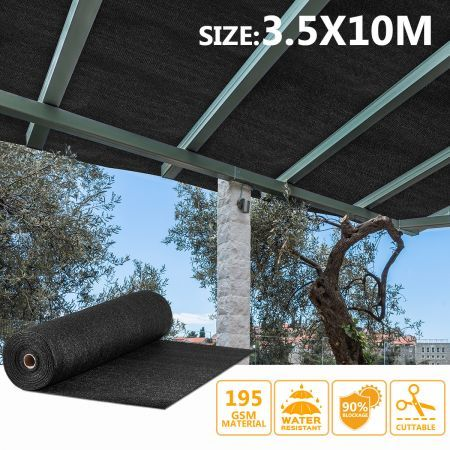 OGL Black 90% UV Block Sun Shade Cloth Sail Roll 3.5x10m Mesh Shadecloth Outdoor 195GSM