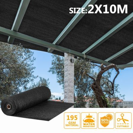 OGL Black 90% UV Block Sun Shade Cloth Sail Roll 2x10m Mesh Shadecloth Outdoor 195GSM