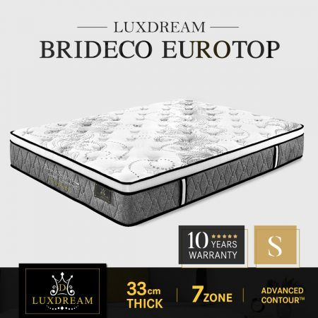 Luxdream Bedding Single Size Euro Top Pocket Spring Foam Mattress Brideco 7 Zone 33cm