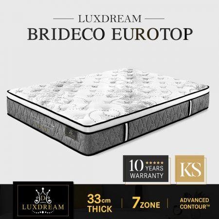 Luxdream Bedding Euro Top Pocket Spring Foam Mattress King Single Size Brideco 7 Zone 33cm