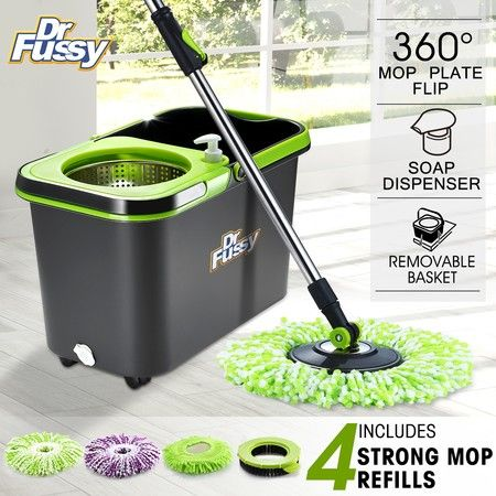 DR FUSSY 360 Degree Spin Mop Bucket System Microfiber Mop with Easy Wringer Bucket