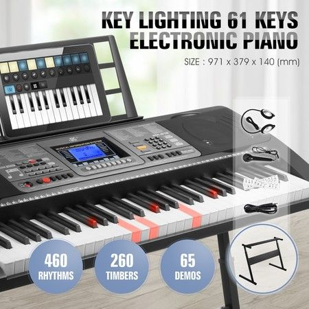 61 Keys Electronic Piano Keyboard USB LCD Electric Piano w/Music Stand Holder Power Adaptor
