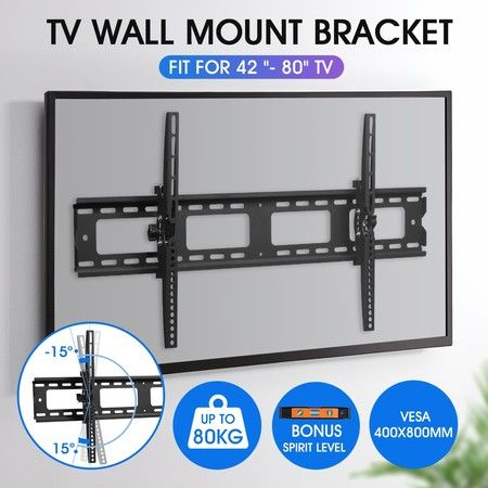 TV Wall Mount Bracket Slim Hanger Tilting Flat LED LCD Plasma VESA 42-80 Inch