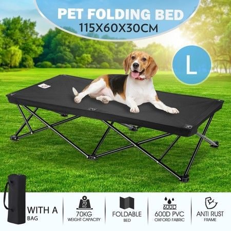 New Pet Trampoline Bed Dog Puppy Cat Hammock Sleeping Camping Cot Canvas Cover L