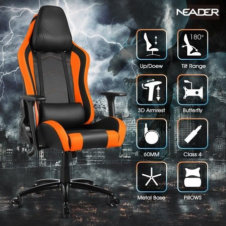 Gaming Office Chair High Back Sport Racing Computer Recliner Seat - Orange & Black