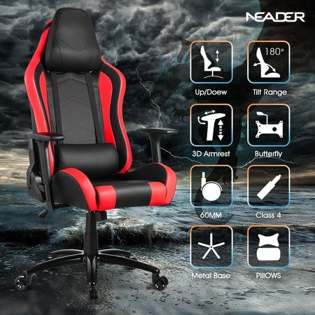 Gaming Office Chair Sport Racing Computer Recliner Seat - Red & Black