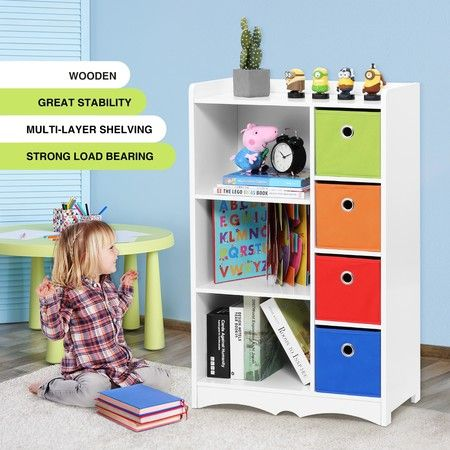 7 Cube Kids Wood Bookshelf Cabinet Bookcase Display Rack Stand Toy Storage Organiser Unit