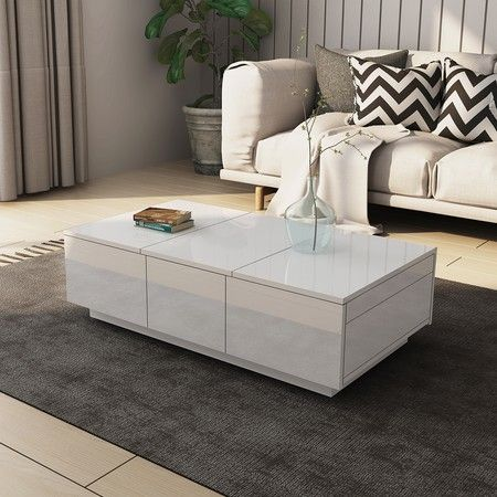 Coffee Table With Sliding Top Storage.Modern 2 Drawer Coffee Table Cabinet Slide Top Storage High Gloss Wood Living Room Furniture White