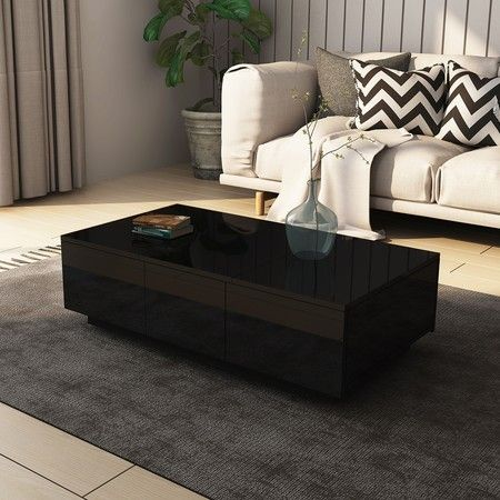 Modern 2 Drawer Coffee Table Cabinet Slide Top Storage High Gloss Wood Living Room Furniture - Black