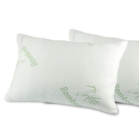 2 Pcs Luxury Natural Bamboo Memory Foam Pillow With Fabric Cover 60X40cm