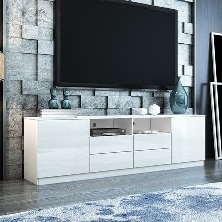 180cm TV Stand Cabinet Wood Entertainment Unit Gloss Storage Shelf w/4 Drawers & 2 Doors - White