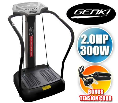 Genki Professional Body Vibration Machine 2.0HP 300W Massage Exercise Platform with Tension Cords