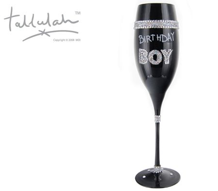 Tallulah Black Champagne Flute Wine Glass Birthday Boy - Hand Painted Diamante Design Glassware