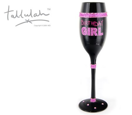 Tallulah Black Champagne Flute Wine Glass Birthday Girl - Hand Painted Diamante Design Glassware