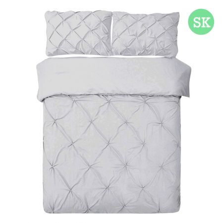 Giselle Bedding Super King Size Quilt Cover Set - Grey