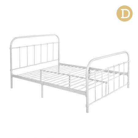 Artiss Double Size Metal Bed Frame - White