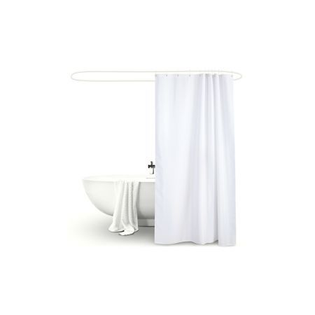 Polyester Waterproof Bathroom Shower Curtain 180x180cm - White