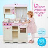 Kids Pretend Play Toy Wooden Childrens Kitchen Set Pink White W