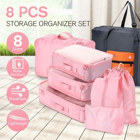 8 Pcs Travel Packing Cubes Pouches Set Clothes Organiser Luggage Suitcase Storage Bags - Pink