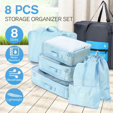 8 Pcs Travel Packing Cubes Pouches Set Clothes Organiser Luggage Suitcase Storage Bags - Blue