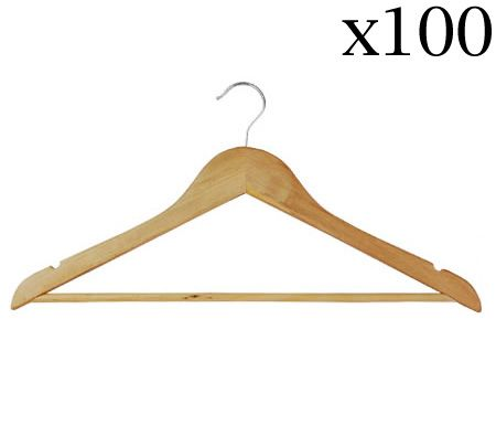 Pack of 100 Brand New Natural Wooden Clothes Hangers - CH45-23x100