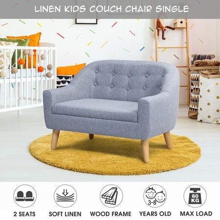 Kidbot Kids Sofa Armchair Children Lounge Chair Linen Fabric Tufted Soft Couch Double