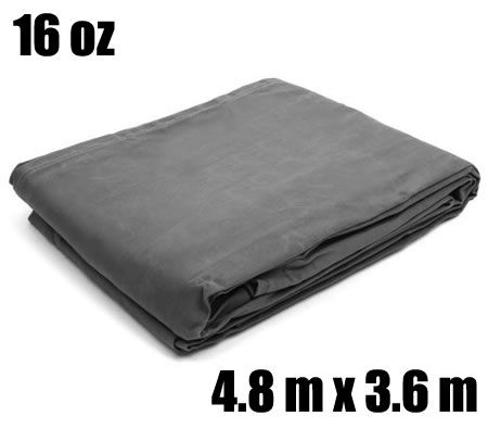 4.8m x 3.6m (16ft. x 12ft.) 16 oz. Waterproof Canvas Tarp Cover - Grey