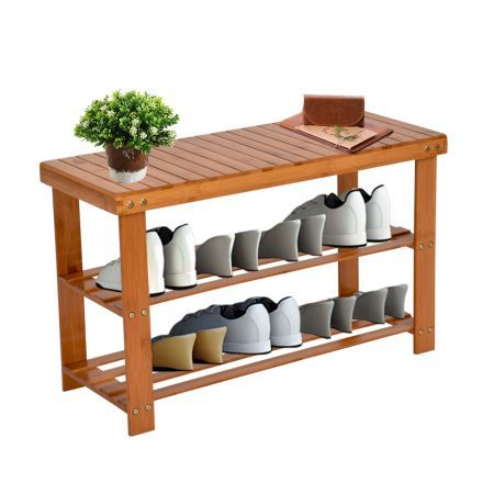 100% 2-Tier Natural Bamboo Shoe Bench