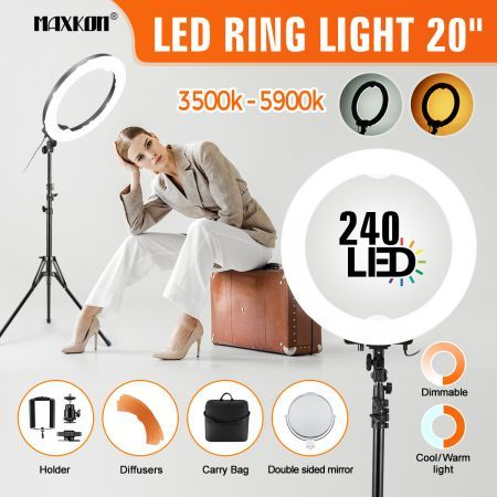 "20"" 5900K Dimmable Diva Ring Light LED Diffuser Stand Phone Camera Selfie Shoot"