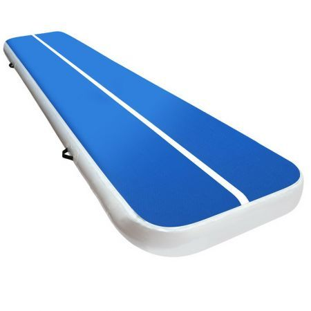4m x 1m Inflatable Air Track Mat 20cm Thick Gymnastic Tumbling Blue And White