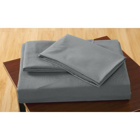 Polyester 3 Piece Bed Fitted Sheet + Pillowcase Queen - Grey