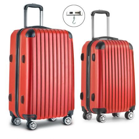 Wanderlite 2 Piece Lightweight Hard Suit Case Luggage Red