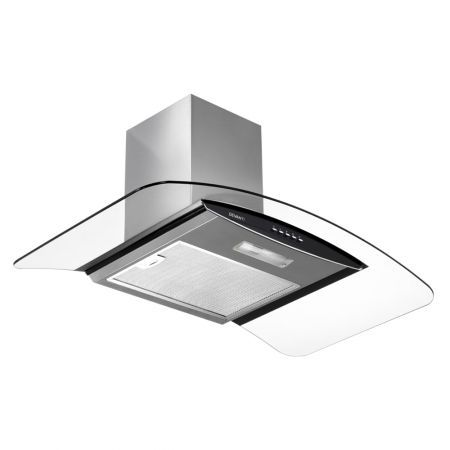 DEVANTi Rangehood 900mm Stainless Steel Curved Glass Wall Mount Range Hood