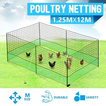 12M X 1.25M Poultry Net Chicken Netting Fence Hens Ducks Gooses With 6 Posts