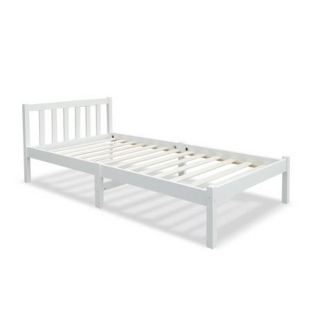 Single Size Wooden Bed Frame - White