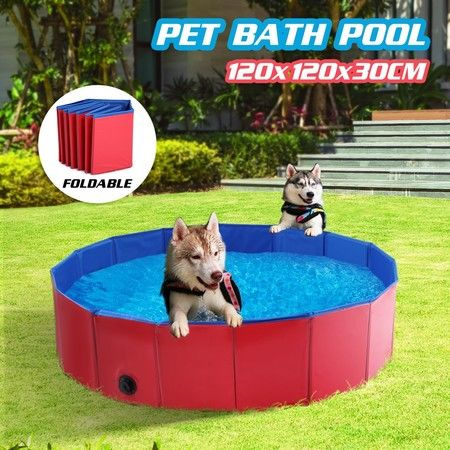 120CM X 30CM Foldable Dog Pool Pet Swimming Bathing Tub for Puppy Cats Kids