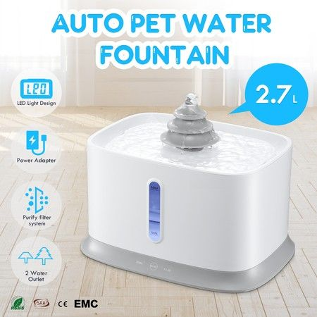 2.7L Pet Drinking Fountain Cat Dog Water Dispenser Quiet Electric Water Bowl
