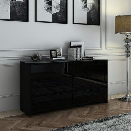 Modern 6 Drawer Chest Dresser High Gloss Storage Cabinet Wood Bedroom Furniture - Black