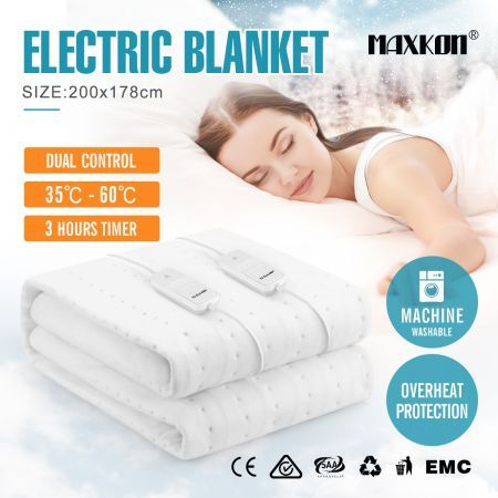 Maxkon King 200X178CM Dual Controller Washable Electric Blanket