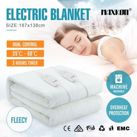 Maxkon Double 187X138CM Dual Controller Artificial Wool Electric Blanket