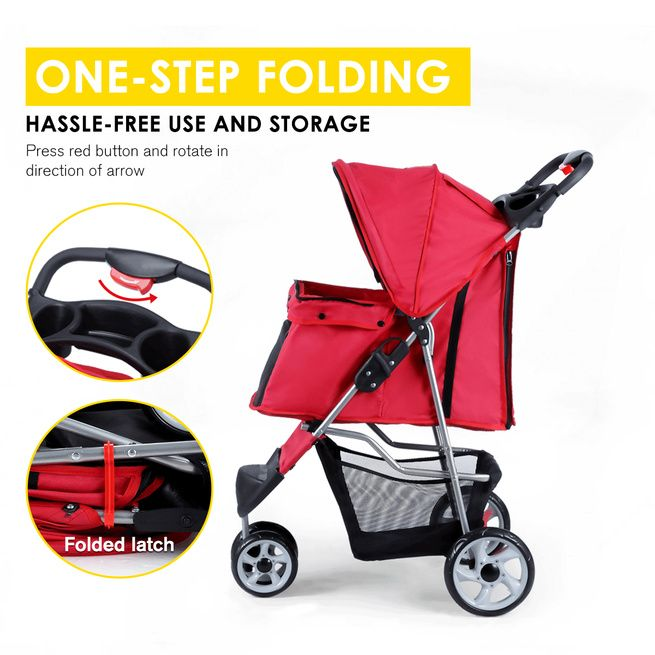 New Pet Stroller Cat Pram Dog Cart Travel Carrier Foldable Pushchair 3-Wheel Red