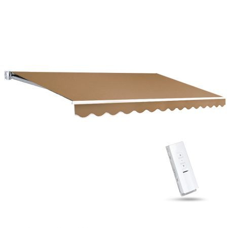 Instahut Motorised 4x2.5m Folding Arm Awning - Beige