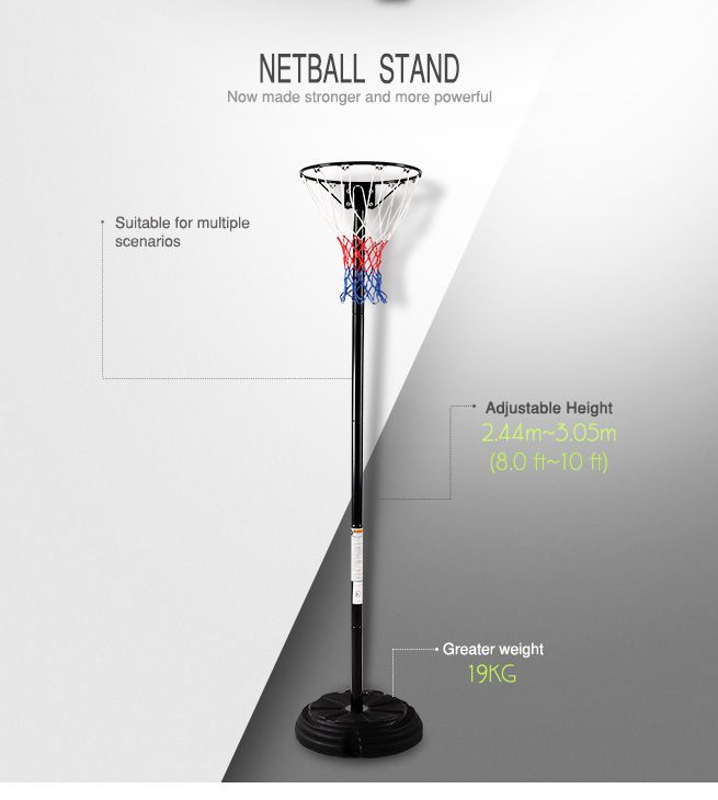 Netball Ring with Stand - Portable Pole Height Adjustable with Class Design