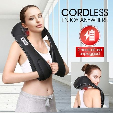 Cordless Neck Back Massager Heat Knead Shiatsu Shoulder Body Massage Home Car Massaging