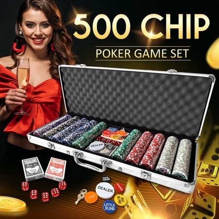 500 Holographic Butterfly Chips Professional Poker Card Game Play Set Casino Dice Aluminium Case