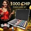 1000 Holographic Eagle Chips Professional Poker Card Game Play Set Casino Dice Aluminium Case