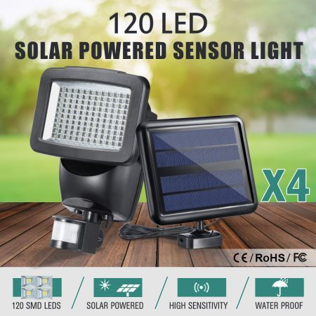 4x 120 LED Solar Light Outdoor Motion Sensor Detection Waterproof Garden Security Floodlights