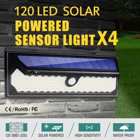 4x 120 LED Solar Light Outdoor Motion Sensor Detection 1200LM Garden Security Floodlight