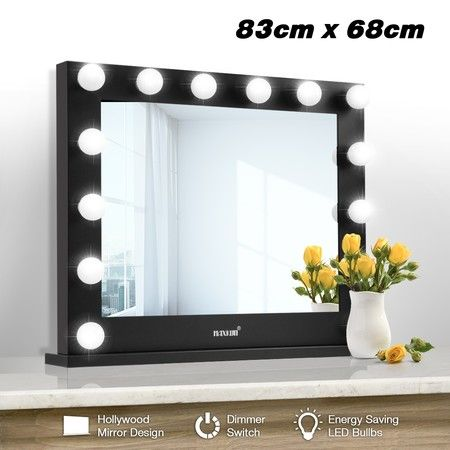Maxkon Hollywood Style Makeup Mirror 14 LED Lights Vanity Mirror w/Dimmer Control - Black